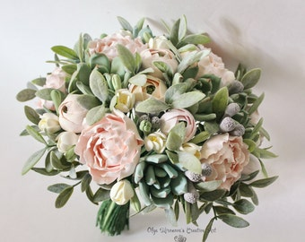 Alternative wedding bouquet Keepsake succulent bouquet Bohobouquet Bridal bouquet with succulents and peonies Blush pink clay bouquet