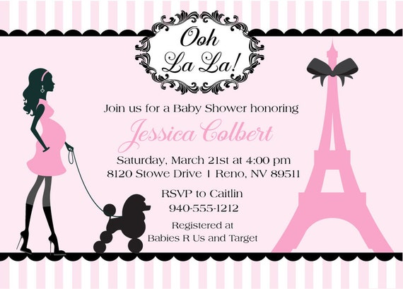 Paris Baby Shower Invitations French Baby Shower Invite For A, Baby Shower  Invitations