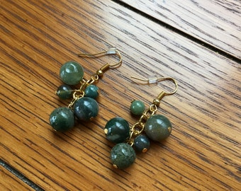 Earrings. Cluster Green Stone Beads. Gold ear wires. 1.75 inches long.