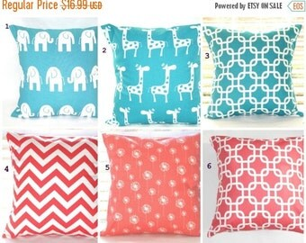 CLEARANCE SALE Pillow Cover, Coral Pillows, Turquoise Pillows, Decorative Throw Pillow, Throw Pillows, Beach Decor, Baby, Nursery, Shower,