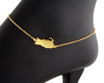 Sideways Cute Cat Kitty Pet Animal Charm Pendant Anklet #14K Gold Plated over 925 Sterling Silver #Azaggi A0627G
