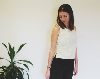 THE TABITHA TOP - sleeveless, vertical striped top