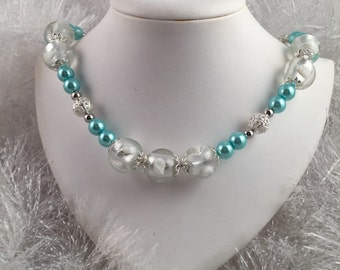 Beautiful glass beaded necklace; aquamarine and silver