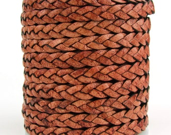 Brown Natural Dye Flat Braided Leather Cord 5mm 1 Yard