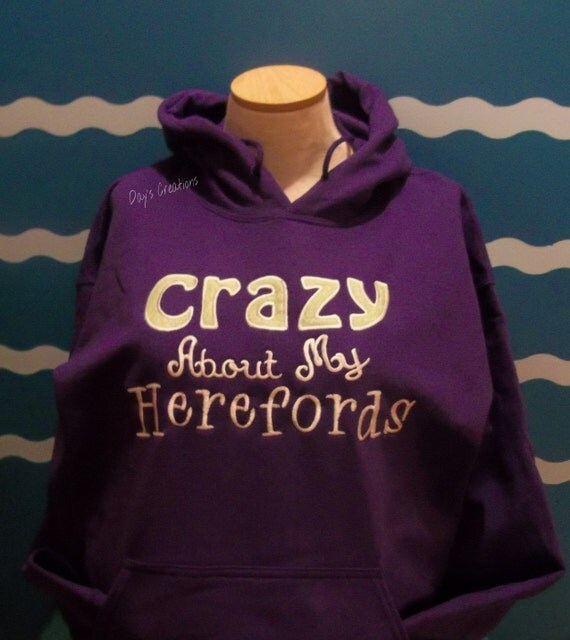 Embroidered Hereford Hooded Sweatshirt - Custom Hereford Hoodie embroidered sweatshirt - Livestock sweatshirt - Hereford cattle sweatshirt
