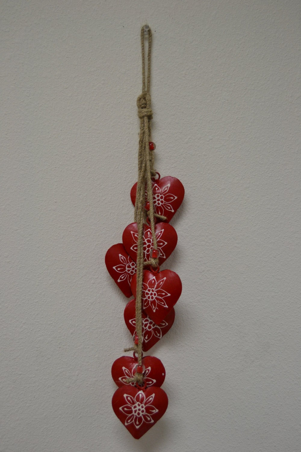 red heart rusty iron metal bells wind chime handcrafted yard. Black Bedroom Furniture Sets. Home Design Ideas