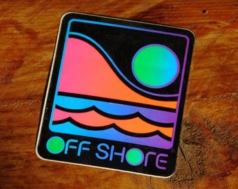 Vintage 80s Neon Off Shore Surf Skateboard Sticker