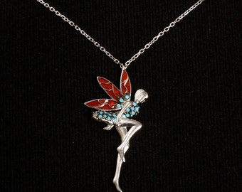 Handmade Topaz and Turquoise Sterling Silver Fairy Pendant & Chain