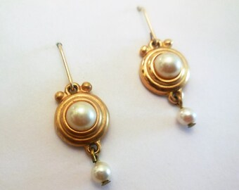 Earrings 1950s White Pearl Vintage Dangle Retro Earrings Women's Fashion Accessories Old Fashion Classic Style Lady's Classy Wordrobe