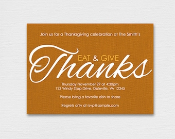 Type Your Own Text & Print at Home - Thankgiving Invitations I0002 - Instant Download Editable PDF File