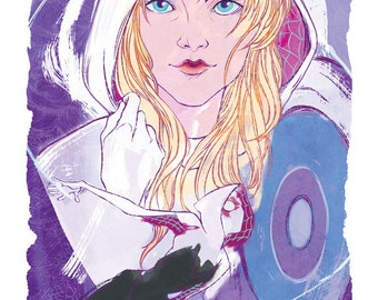 Spider Gwen from the Spider Edge comics and Spider Gwen comics