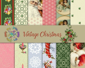 Vintage Christmas Papers Textured | Victorian Images | Digital Papers Instant Download