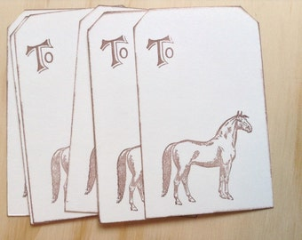 vintage inspired horse gift tags, happy birthday gift tags, hand stamped