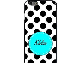 Hard Snap-On Case for Apple 5 5S SE 6 6S 7 Plus - CUSTOM Monogram - Any Colors - Black White Blue Polka Dots