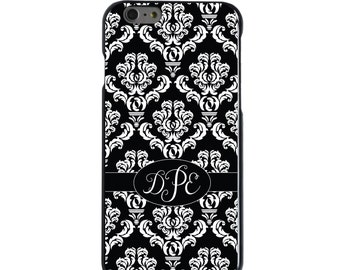 Hard Snap-On Case for Apple 5 5S SE 6 6S 7 Plus - CUSTOM Monogram - Any Colors - Black Oval Damask Ribbon