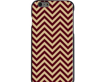 Hard Snap-On Case for Apple 5 5S SE 6 6S 7 Plus - CUSTOM Monogram - Any Colors - Florida State FSU Seminoles Colors - Chevron Pattern