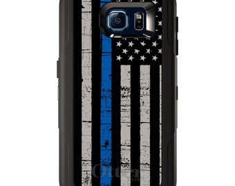 Custom OtterBox Defender for Galaxy S5 S6 S7 S8 S8+ Note 5 8 Any Color / Font - Weathered Thin Blue Line