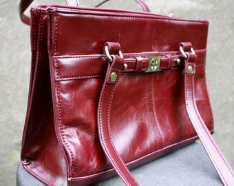 Vintage GIANI BERNINI Genuine Leather Burgundy Shoulder Bag