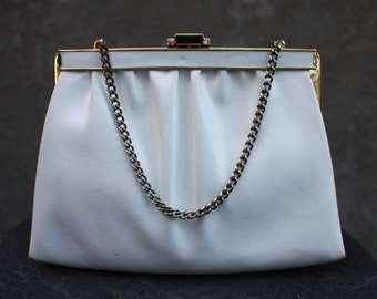 Vintage 1950-60 Genuine Leather White Evening Purse with Hide Chain, Clutch