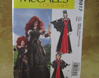 McCall's Costume Pattern 6817 Brave Lacing Gown & Cape (S-M-L-XL)