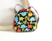 Toddler Backpack- Preschool tote - With ZIPPER- Dinosaurs