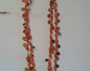 Vintage Orange and Gold Beaded Necklace
