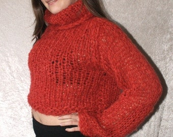 Super cuddly mohair knit wool short sweater boho style mesh sweater turleneck jumper loosely chunky knit red