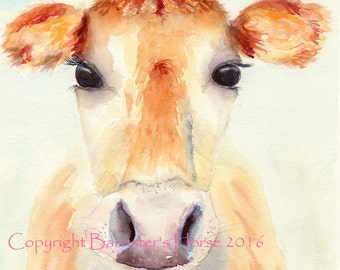 Jersey Cow, fine art, Giclee Watercolour Painting Print A4. Archival quality inks