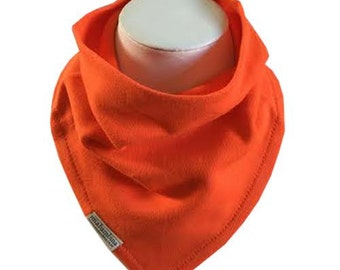 Bandana dribble bib - 100% organic cotton - Reversible - Orange - Mia Bambina