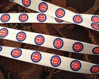 "Chicago Cubs WS CHAMPS inspired fold-over elastic FOE 5/8"" supply, choose your yardage"