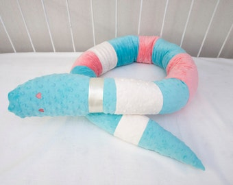 Minky  Plush Snake Pillow. Coral, Aqua, Cream