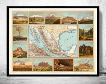 Old Map of Mexico 1885