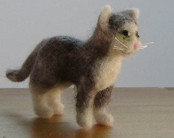 Miniature needle felted grey and white cat