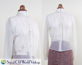 Vintage 40s 50s Sheer White Blouse || Peter Pan Collar || Nylon || 1940s 1950s || Spring || Mid Century || Long Sleeve || Small, Size 8