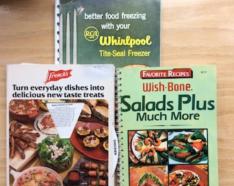 Assorted Cook Books - French's Meal-Wheel, WishBone Salad Plus Much More & Whirlpool freezing
