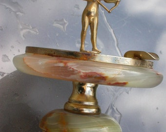 French antique art deco marble stone gold gilt metal tray angel Cupid sulpture figurine cherub lion foot