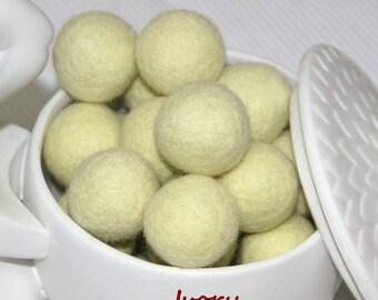 Felt Balls, Felt Beads, Pom Poms, Wool Beads , Color Ivory, Sizes 1.0 cm, 1.5 cm, 2.0 cm, 2.5 cm, 3.0 cm, 4.0 cm