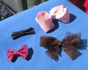 Lot Of Retro Hair Bow Clips One Missing Clip