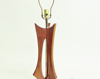 Mid Century Modeline Adrian Pearsall Style Table Lamp - Walnut or Teak Wood - Danish Modern - 1960s