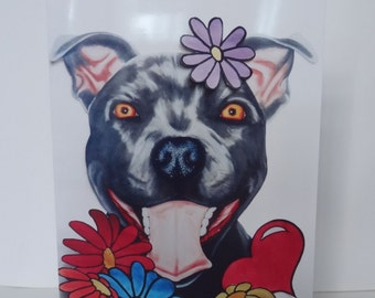 Greetings Card Print - Flowers Happy Staffy purple, Mother's Day, Easter