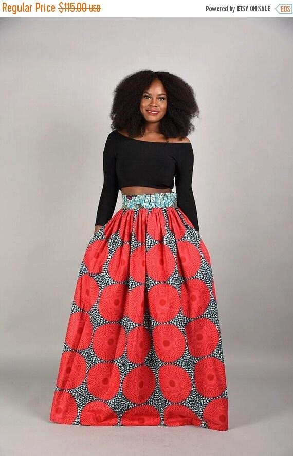 SALE Circle bun  Maxi Skirt African print skirt