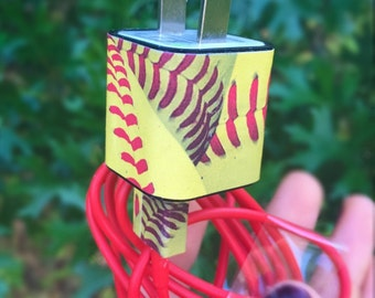 Softball iphone 5 6 charger with red cord