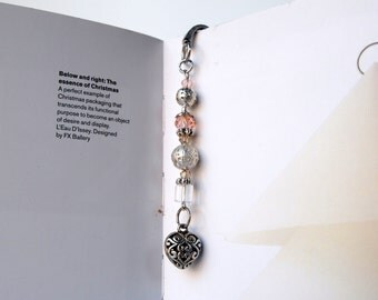 Romantic ENGRAVED SILVER BOOKMARK with heart charm -  Handmade Page  Beaded Book Mark, Metal bookmark, Gift for her