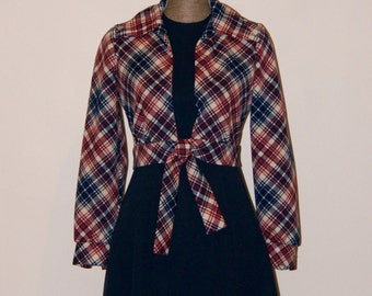 Vintage 1970s Act 1 Navy, Sleeveless A line Dress with Plaid Tie Front Jacket, Cool, Retro, Mod, Marcia Brady, Laurie Partridge, Hipster