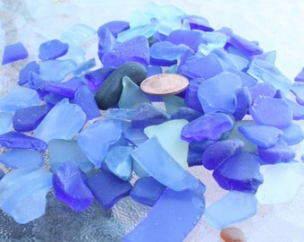 50ct Blues and Light Blue GENUINE Ocean Tumbled Sea Glass Mix Sizes and Grades