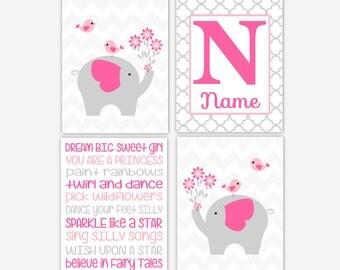 Baby Girl Nursery A rtwork Elephants Pink Personalized Name Art Typography Girl Room Wall Decor Elephant Wall Decor Baby Nursery Decor