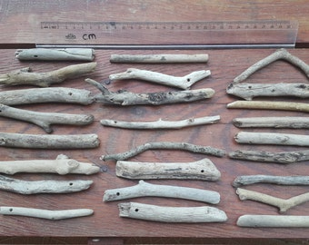 25 natural drilled  driftwoods from aegean sea