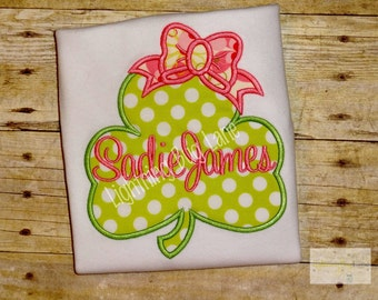 girls st patricks day shamrock shirt  shamrock top toddler baby st patricks day lime geen and pink personalized shamrock shirt