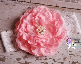 Pink Flower Pearl Rhinestone Lace Headband, Large Flower, Couture Headband, Vintage, Baby Toddler Girl Woman - SB-082