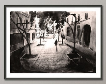 Paris Black and white Painting, Watercolor, Poster France, Giclee print , Modern wall art